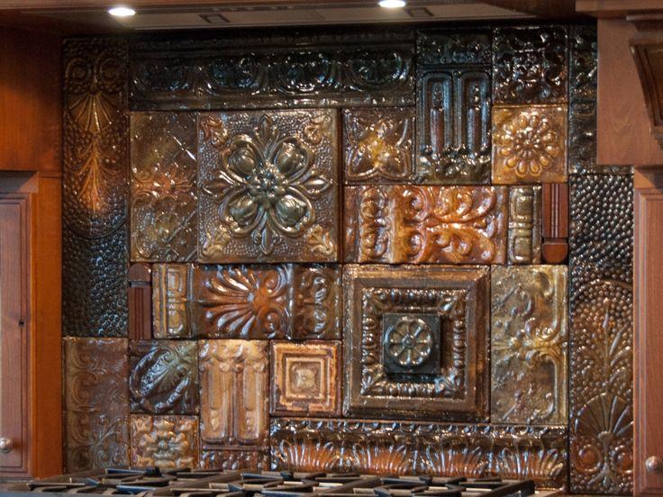 Hand glazed reclaimed vintage tin ceiling tile back splash for Tin ceiling tiles backsplash