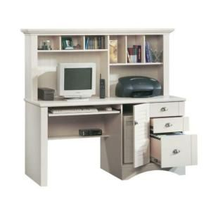 ... Antiqued White Computer Desk with Hutch-158034 at The Home Depot