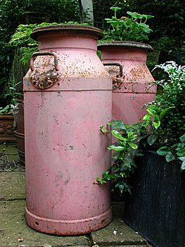 Pink and green... Re-purposed milk pails I'd love to do something like this