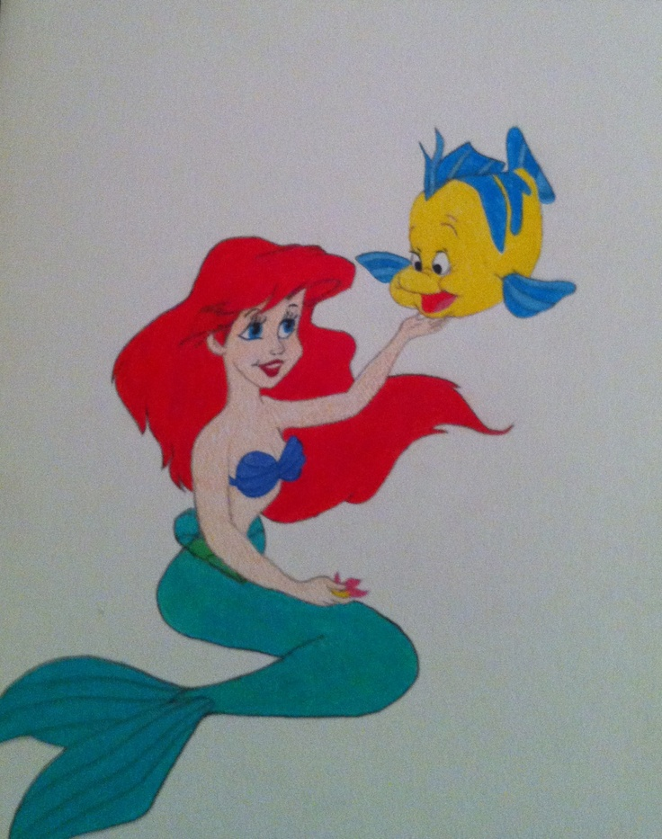 Pics I drew for my girls when they were young...  Ariel (Little Mermaid)