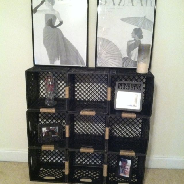 Simple  Milk Crate Shelves Diy And Crafts Apartments Shelves Record Storage