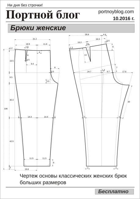 Сшить брюки женские на полных 41