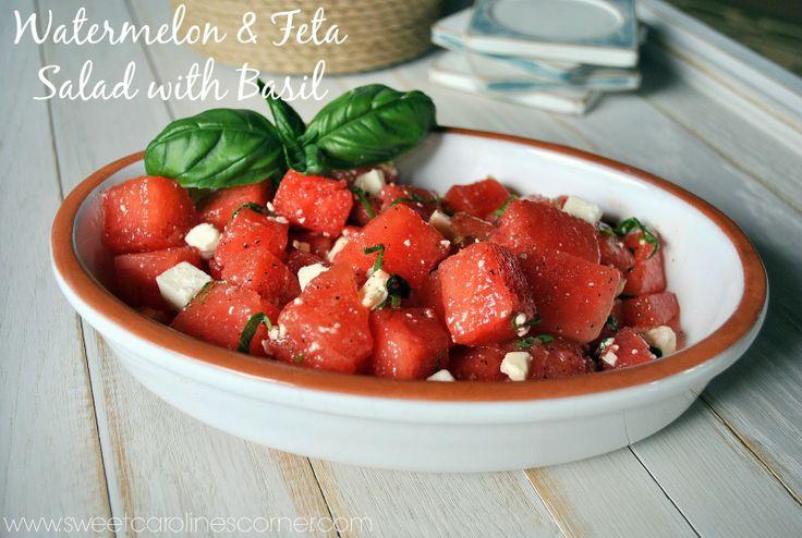 Watermelon & Feta Salad with Basil | Sweet Caroline's Corner