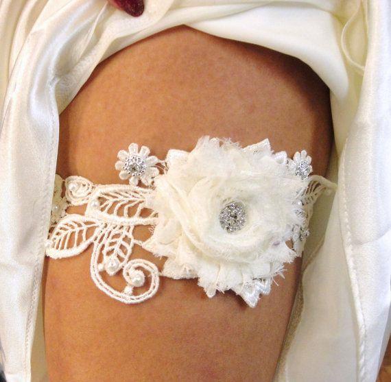 Bridal Garter, Garter Set, Wedding Garter, Garter Belt, Vintage Inspired Ivory Bridal Lace, Pearls and Rhinestones via Etsy