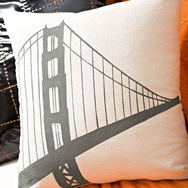 Bridge-pattern stenciled canvas pillow