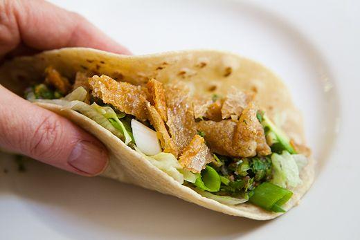 Crispy Chicken Skin Tacos with Habanero Salsa | Recipe