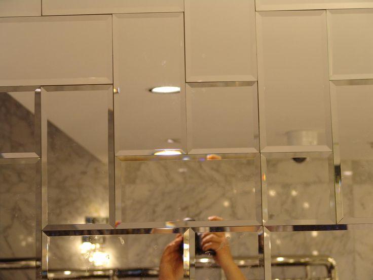 beveled mirror subway tile set in herringbone kitchens
