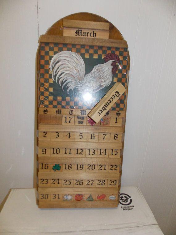 Rooster Wood Wooden Perpetual Calendar by PfantasticPfindsToo, $44.99