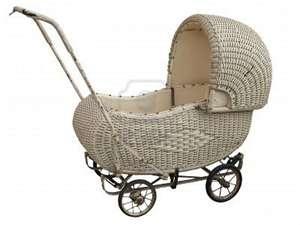 Wicker baby stroller.