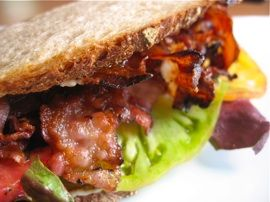 PLT - Fra'Mani Pancetta, Lettuce, and Heirloom Tomatoes on Country ...