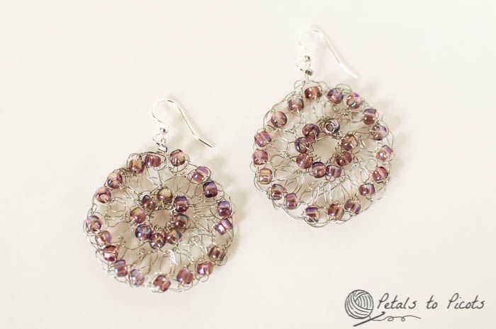 Free Patterns For Wire Crochet Jewelry : Crochet Wire Medallion Earrings