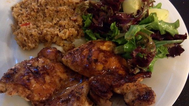 Grilled Chicken thighs with quinoa and mixed greens-cucumber salad ...