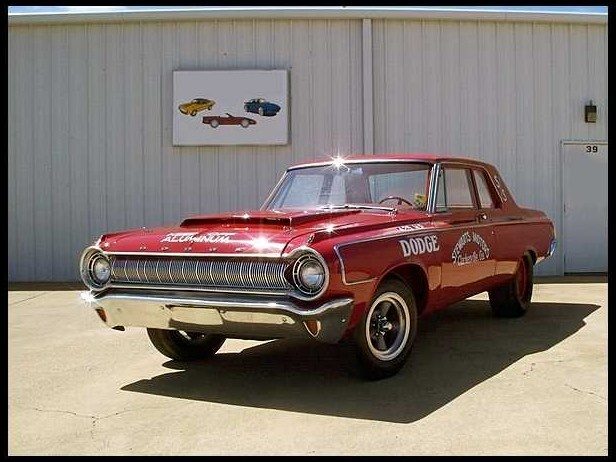 1964 Dodge 330 Sedan Lightweight  426 CI  - Ultra rare factory lightweight Hemi race car  - Approx 61 total cars and only 10 known to still exist  - 90% were automatics making it one of two or three 4-speeds to combat the other factory race cars of the era  - Documented original Hemi 4-speed Red on Red car  - Copy of the original bill of sale, letter from the original owner and a letter from the original dealer to confirm the purchase and delivery in June of 1964  - Fully restored from the ground-up using new sheet metal  - Date coded Hemi engine, transmission, rear end  - Original aluminum lightweight parts still on the car  - Original type race headers, 2 air cleaner setups, collector extensions  - Fender tag decoded by Galen Govier  - Pictures of the car at the drag strip in Sept. 64 and was the national record holder in SS/BA in 1985  - Used in the Goodyear tire commercial TV ad during the running of the 1992 Indy 500  - Very rare collectible factory super stocker