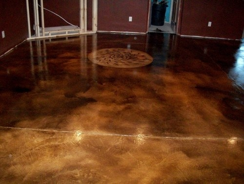 Acid stain floor basement makeover home inspirations for How to clean acid stain floors