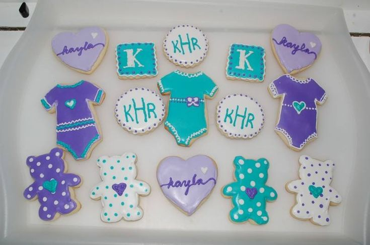 teal and purple baby shower cookies elliott 39 s edibles pinterest