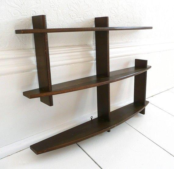 mid century modern wooden hanging wall shelf. Black Bedroom Furniture Sets. Home Design Ideas
