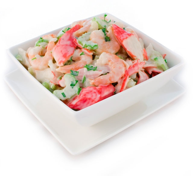 Healthy Seafood Salad. 2 pounds cooked shrimp, peeled and deveined, 1 ...