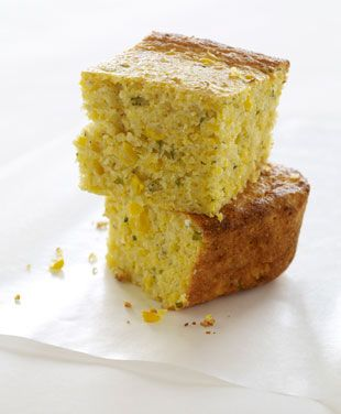 Fresh Corn and Basil Cornbread - Bon Appétit - without cheese