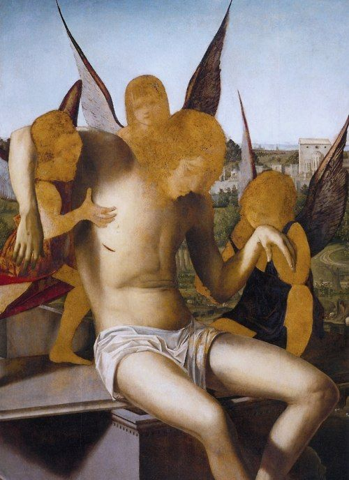 Piéta with Three Angels (detail), 1475, by Antonello da Messina