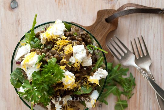 Black lentil salad with goat cheese and arugula