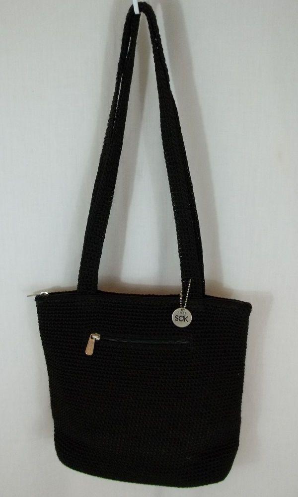 The Sak Black Crochet Handbag : THE SAK Black Nylon CROCHET Purse Handbag Tote Shoulder Bag Purse ...