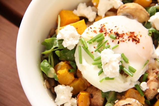 bona food: Roast Pumpkin, Lentil and Goat's Cheese Warm Salad