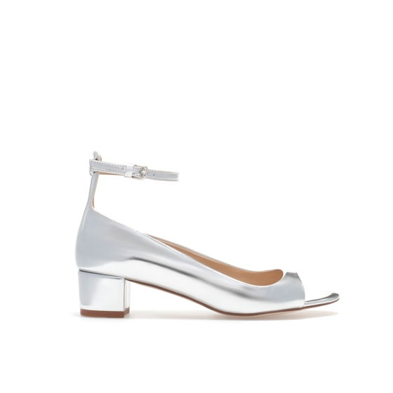 METALLIC SANDALS WITH ANKLE STRAP - Heeled sandals - Shoes - Woman - ZARA United States