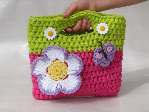 Crochet Flower Bag : Crochet+Purse+Product Girls Bag / Purse with Large Flower and ...
