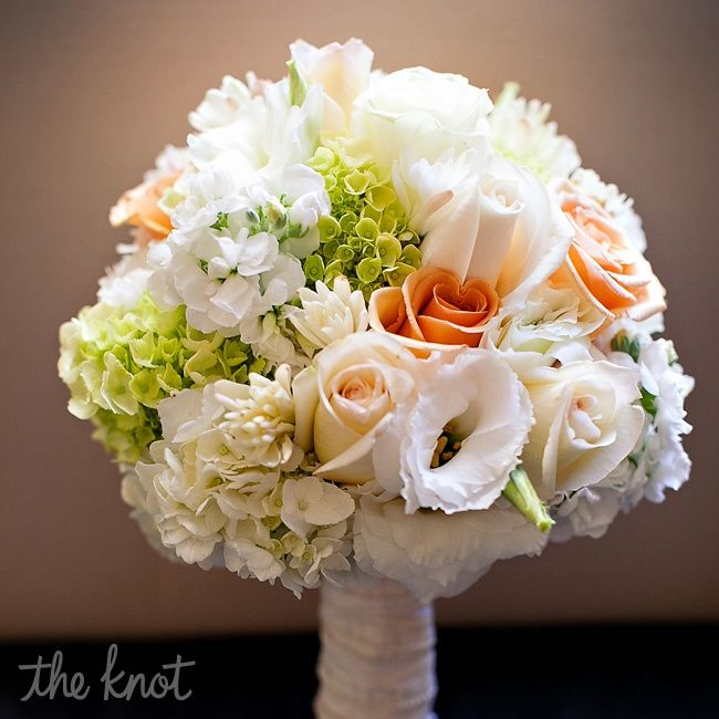 Bridal Flowers Green : Peach white and green bridal bouquet flowers