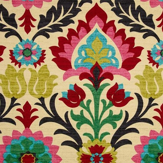 Drapes Curtains Floral Bright Pink Green Turquoise Citrine Red