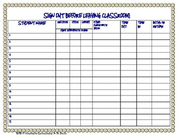 student sign out sheet