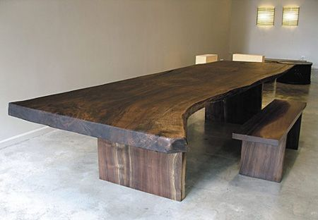 Salvaged wood live edge dining table