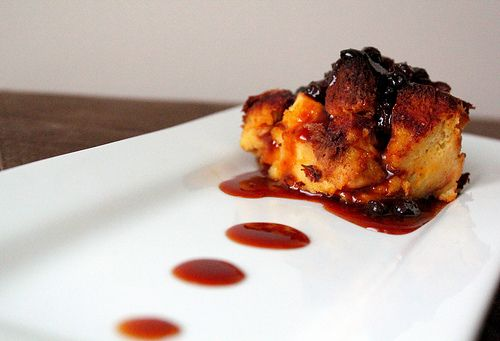 Pumpkin Bread Pudding with a Caramel Rum Raisin Sauce - Looks like it ...
