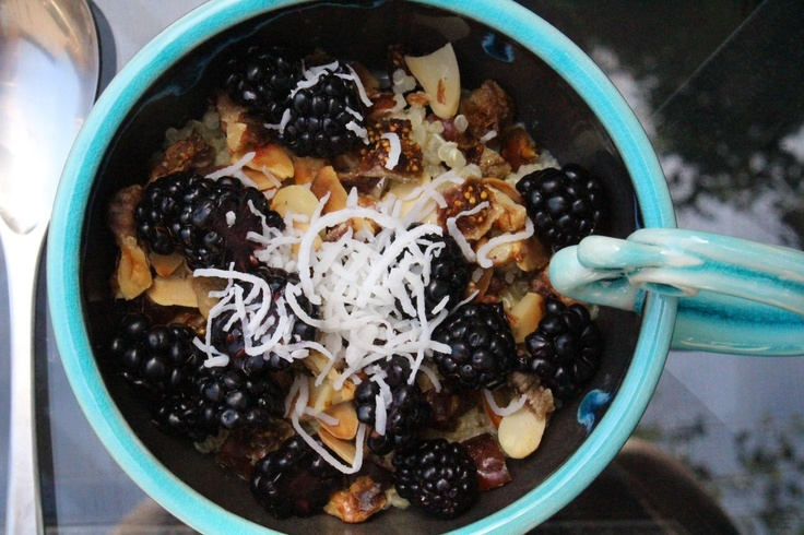 breakfast recipe: quinoa with almond milk topped with toasted ...