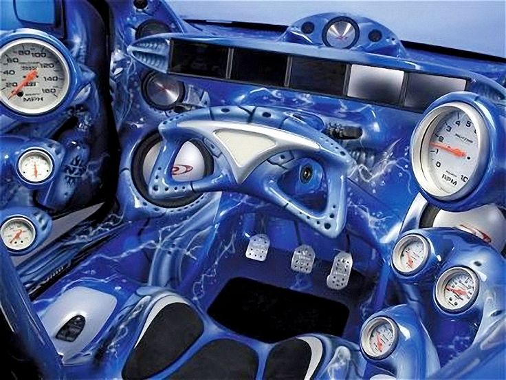 Crazy Custom Interior Blue Multiple Lcd Screens Alpine