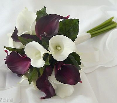 Silk Wedding Bouquet Latex Calla Lily White Eggplant Purple Posy Flow