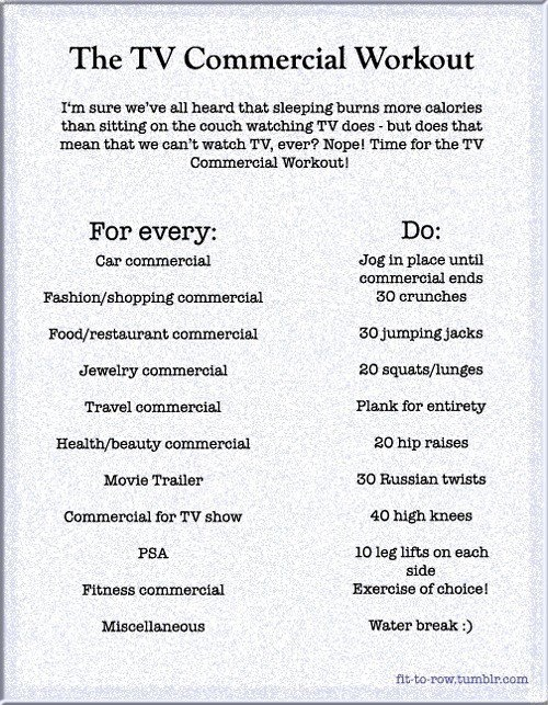 An exercise regimen I could actually see myself being able to do. For a few commercial breaks anyway.