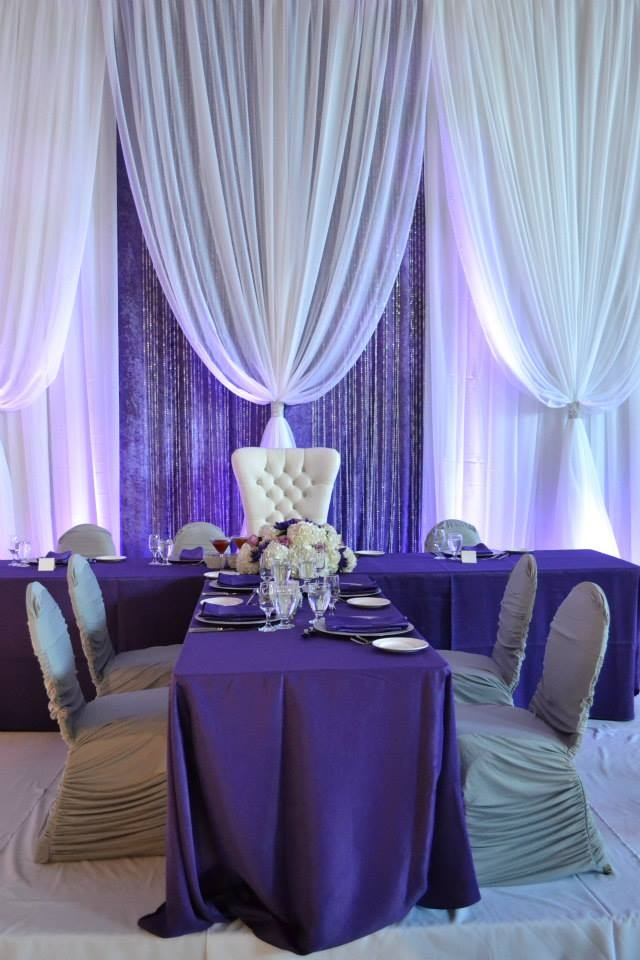 purple and silver themed bat mitzvah party, décor by Alex Cheng of