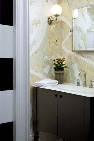 I've always wanted a wall papered in maps. Bathroom would be cool.