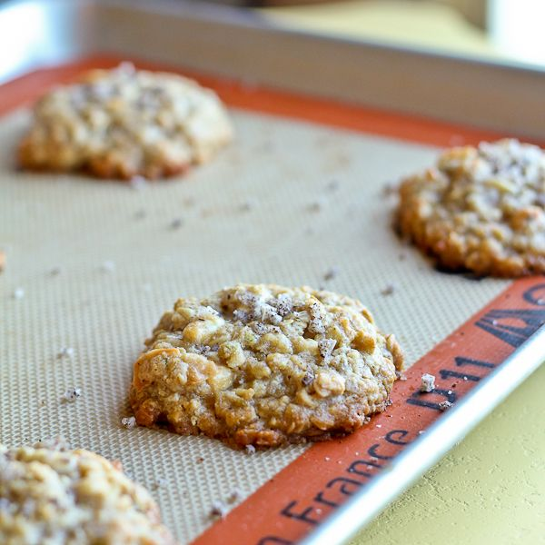 Salted Coconut Lime Cookies with Oats and White Chocolate