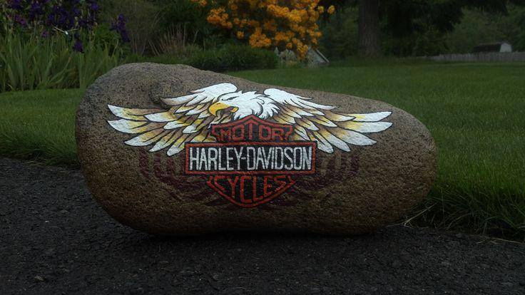 Harley painted garden rock garden rocks pinterest - Painting rocks for garden ...