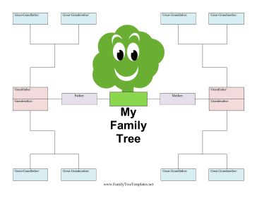 ... family tree. With a happy, smiling cartoon tree, it is great for