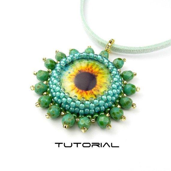 Eye Pendant Pattern Immediate Download Bead Embroidery