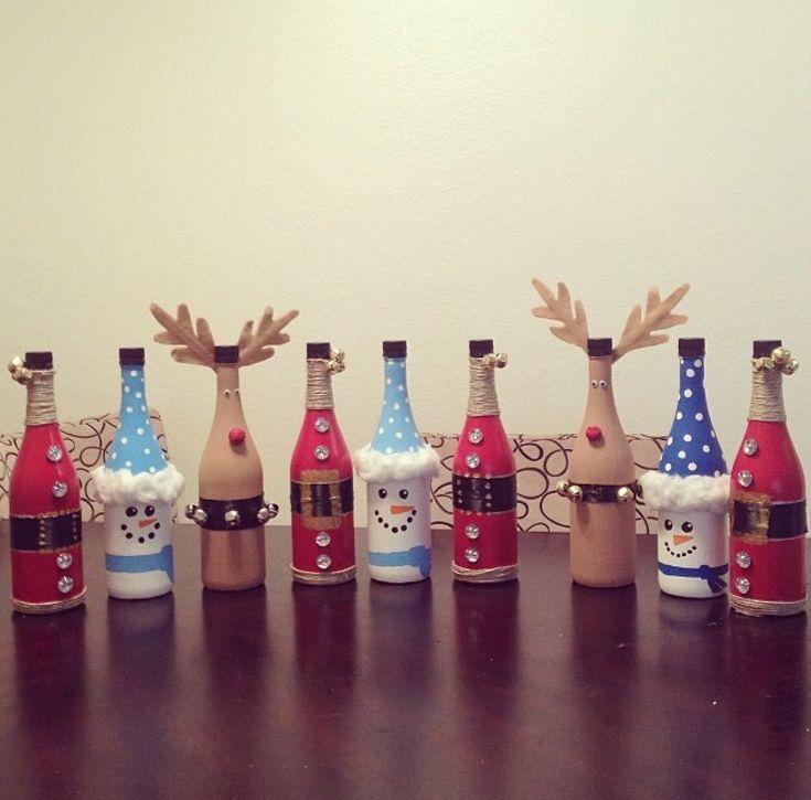 Christmas bottles craft glass crafts pinterest for Craft ideas using bottles