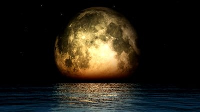 Ocean and moon phases with twinkling stars - video clip