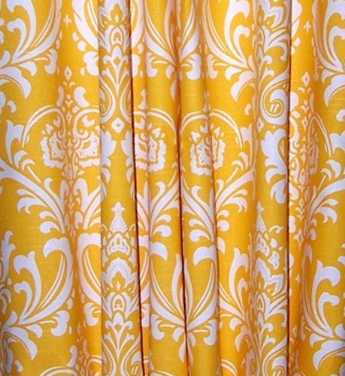 yellow damask curtains | For the Home | Pinterest