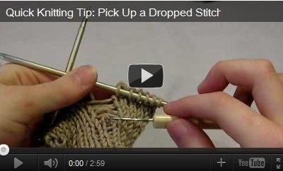 Knitting Tips Picking Up Stitches : video pick up dropped stitch http://www.allfreeknitting.com/video-basics/6-Am...