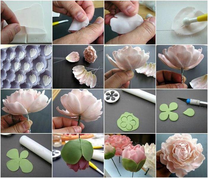 Простые цветы из мастики