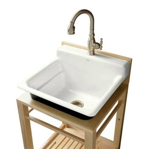 Utility Room Sink : Kohler K-6608-1P Bayview Cast Iron Wall Mount Utility Sink Single Hole