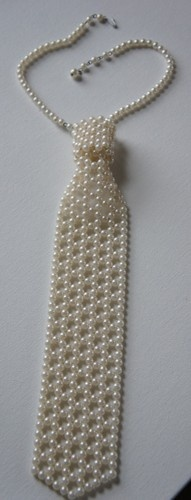 "ending @4.95 Vintage 70's Ladies JEWEL Neck Tie all made with Faux Pearls 19"" long Necklace"
